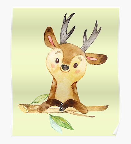 Cute Adorable Watercolor Woodland Baby Deer Poster