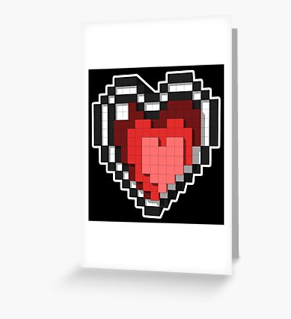 3D PIXEL - Hearts (BLACK) Greeting Card