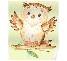 Cute Adorable Watercolor Woodland Baby Owl Poster
