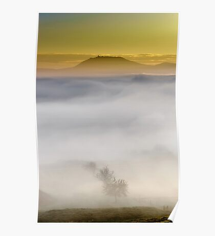 Majestic fog ocean in the mountains on sunset, Alsace, France Poster