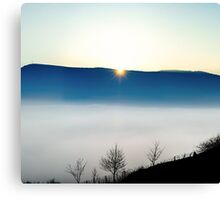 Majestic fog ocean in the mountains on sunset, Alsace, France Canvas Print