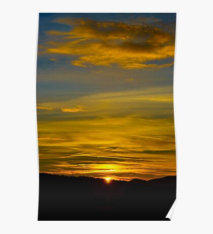Colorful sunset in alsacien mountains near Mont Sainte-Odile, France Poster