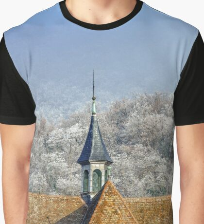 Church and frozen trees in little french village, Andlau, France Graphic T-Shirt
