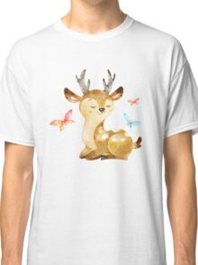 Cute Watercolor Woodland Baby Deer with Butterflies   Classic T-Shirt