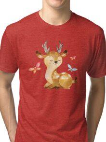 Cute Watercolor Woodland Baby Deer with Butterflies   Tri-blend T-Shirt