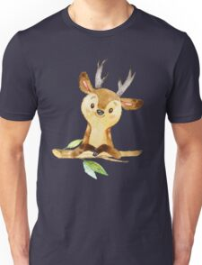 Cute Adorable Watercolor Woodland Baby Deer Unisex T-Shirt