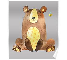 Cute Adorable Watercolor Woodland Baby Bear  Poster