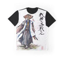 Samurai Crusader with Calligraphy Graphic T-Shirt