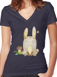 Cute Adorable Watercolor Woodland Baby Bunny Rabbit Women's Fitted V-Neck T-Shirt