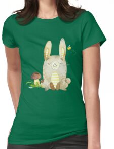 Cute Adorable Watercolor Woodland Baby Bunny Rabbit Womens Fitted T-Shirt