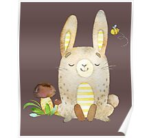 Cute Adorable Watercolor Woodland Baby Bunny Rabbit Poster