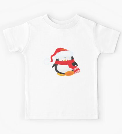 cute little xmas penguin Kids Tee