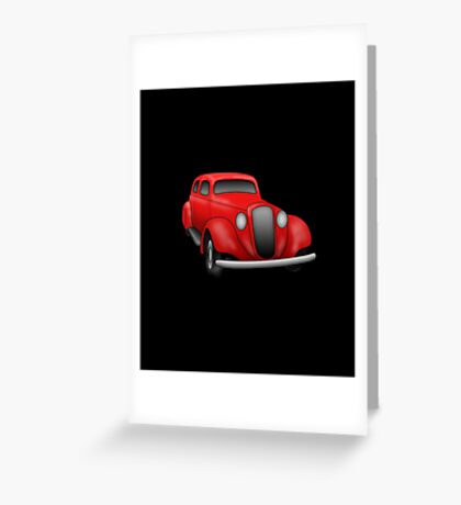 Retro Vintage Red Car Greeting Card