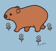Walking Wombat with White Flowers by zoel