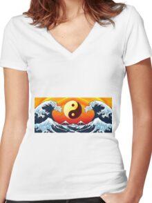 Ying Yang Sunrise Women's Fitted V-Neck T-Shirt