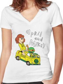 April and Mikey Women's Fitted V-Neck T-Shirt