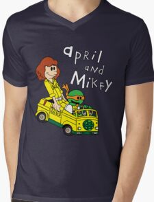 April and Mikey Mens V-Neck T-Shirt