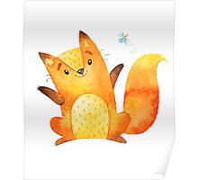 Cute Adorable Watercolor Woodland Baby Fox Poster