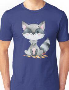 Cute Adorable Watercolor Woodland Baby Raccoon Unisex T-Shirt