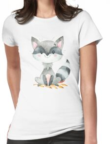 Cute Adorable Watercolor Woodland Baby Raccoon Womens Fitted T-Shirt
