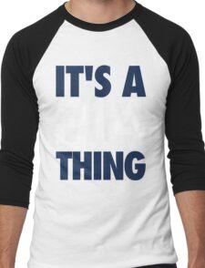 It's A 214 Thing (Blue/White) Men's Baseball ¾ T-Shirt