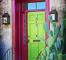 Tucson green door by Linda Sparks