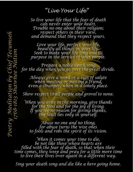 """""""Live Your Life""""  Golden feather by Chief Tecumseh by Irisangel"""
