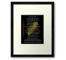 """Live Your Life""  Golden feather by Chief Tecumseh Framed Print"