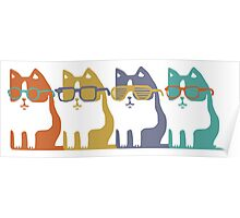 Cats In Glasses Row Poster