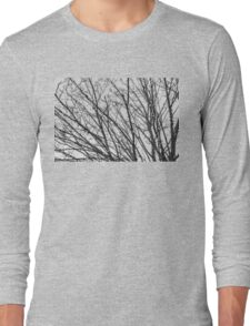 Christmas Lights Decorated Winter Branches (black white)  Long Sleeve T-Shirt