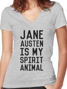 Jane Austen is my Spirit Animal_Black Women's Fitted V-Neck T-Shirt