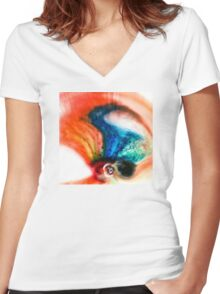 Abstract Colorful Liquid Women's Fitted V-Neck T-Shirt