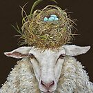 Judith the Sheep with nest by Vicki Sawyer