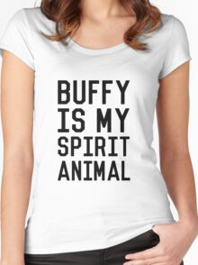 Buffy is my Spirit Animal_Black Women's Fitted Scoop T-Shirt