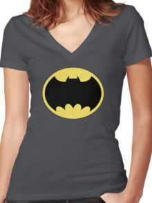 DKR TV round Bat Women's Fitted V-Neck T-Shirt