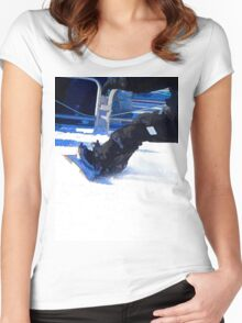 Snowboarder Skidding Winter Sports Gift Women's Fitted Scoop T-Shirt