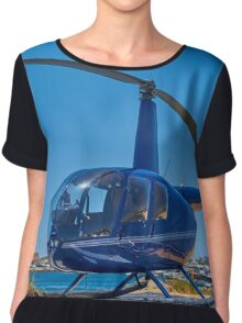 Blue Helicopter Robinson R44 Chiffon Top