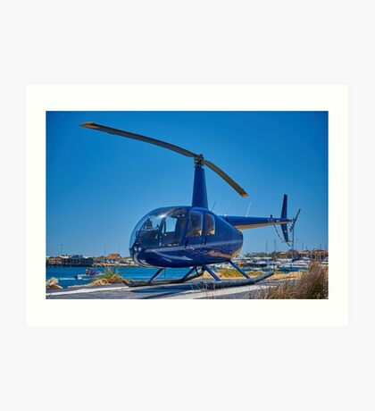 Blue Helicopter Robinson R44 Art Print