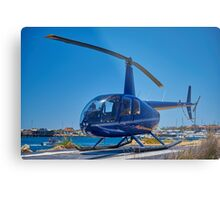 Blue Helicopter Robinson R44 Metal Print