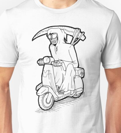 Reaper on a moped Unisex T-Shirt