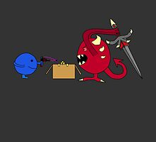 blue dude vs the devil by JasperSwitters