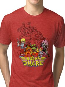 Bucky O'Hare - Logo - Group with Ship - Color Tri-blend T-Shirt