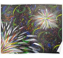 Abstract Fireworks Color Explosion Poster
