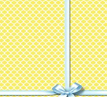 Yellow Quatrefoil with Blue Ribbon by Everett Day