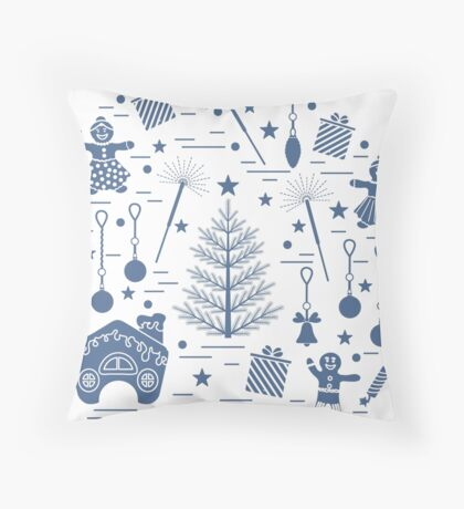Vector illustration of different new year and christmas symbols.  Throw Pillow
