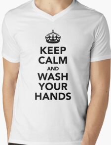 Keep Calm and Wash Your Hands - Black Mens V-Neck T-Shirt