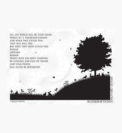Watership Down Black and White Illustrated Quote Photographic Print