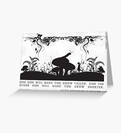 Alice's Adventures in Wonderland Black and White Illustrated Quote Greeting Card