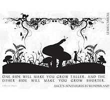 Alice's Adventures in Wonderland Black and White Illustrated Quote Photographic Print