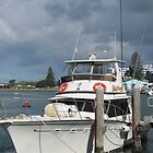 'Restless' Tied at boat harbour, Tuncurry, N.S.W. Nth Coast, Aust. by Rita Blom